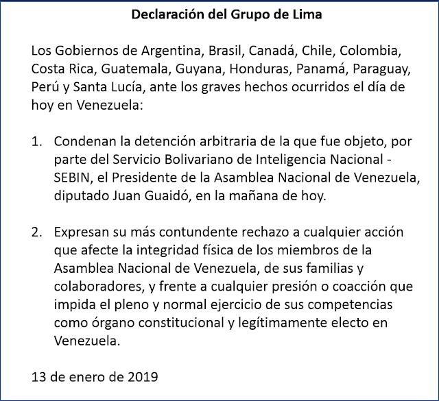 Grupo de Lima condena detención arbitraria de Juan Guaidó