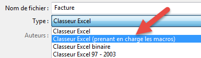 Type de fichier classeur macro