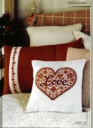 Dia dos Namorados almofada coracao love Em Ponto Cruz Com Gráficos