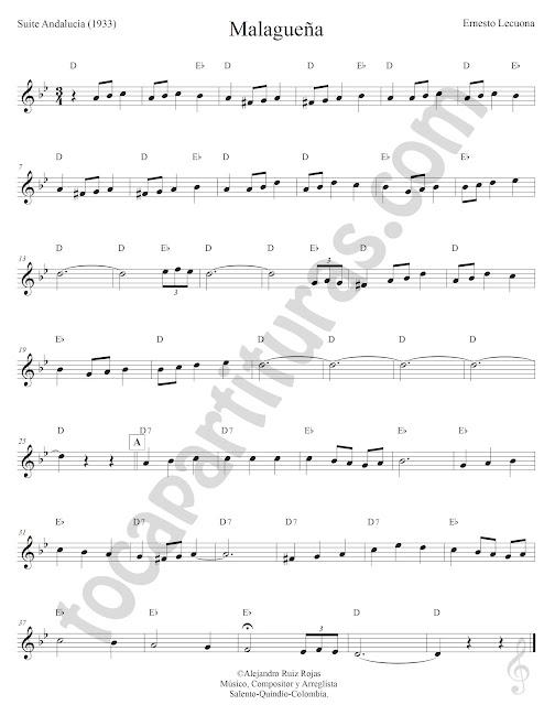 Malagueña Suite Andaluza de Ernesto Lecuona Partitura Fácil con Acordes Malagueña Sheet Music with Chords