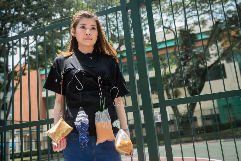 A video posted on Sept 21 of Ms Lerine Yeo promoting a top with metal rings as sort of a wearable rack where you can use S-hooks to hang umbrellas, ez-link cards, wanton mee - 'whatever you want to hook, you can hook