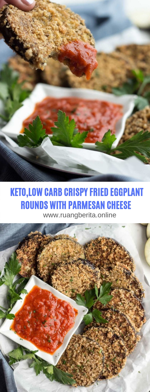 KETO,LOW CARB-CRISPY FRIED EGGPLANT ROUNDS WITH PARMESAN CHEESE