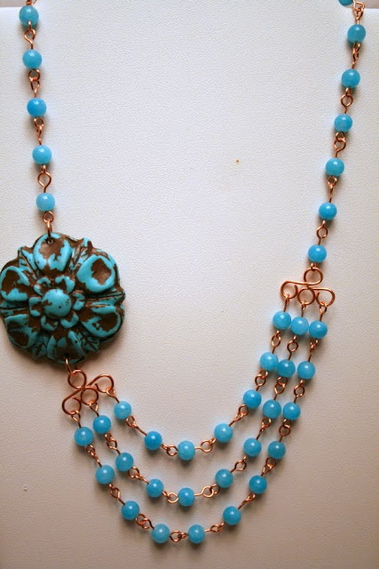 Turquoise Toffee: Jeannie Dukic's Art focal, jade, copper, OOAK necklace :: All Pretty Things