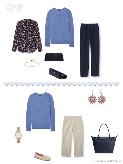 2 ways to wear a cornflower blue sweater from a 4 by 4 Travel Capsule Wardrobe