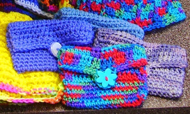 Crochet wallets.