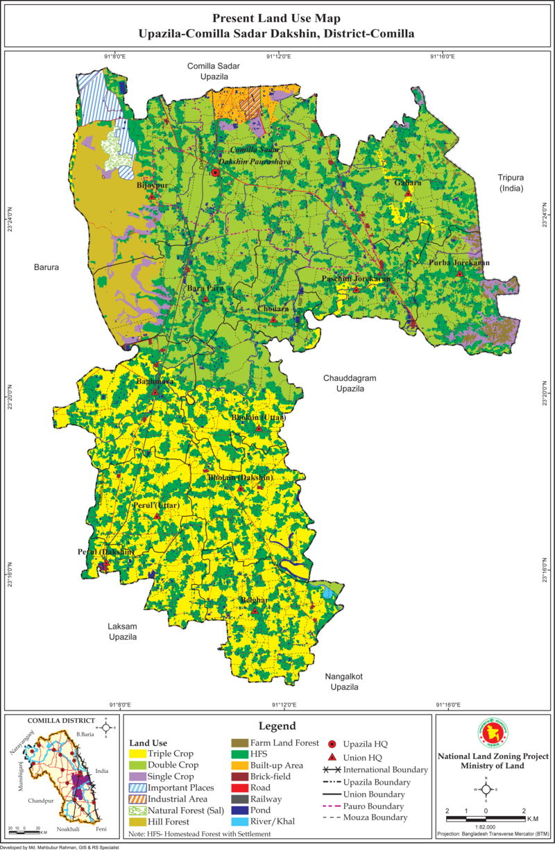 Comilla Sadar (Dakshin) Upazila Mouza Map Comilla District Bangladesh