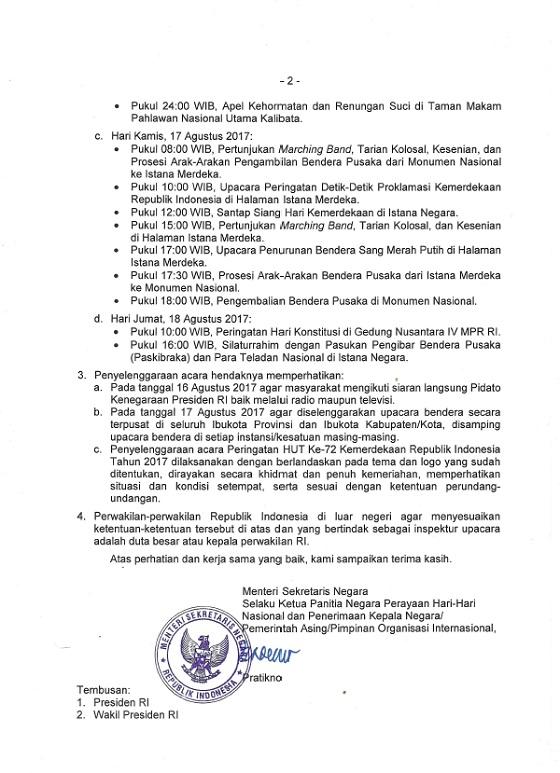 Pedoman Peringatan HUT RI Ke-72 Tahun 2017