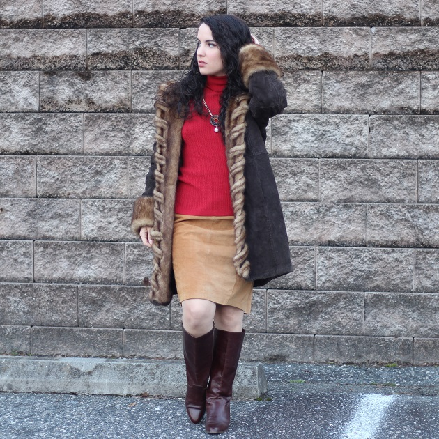 Brown Suede Faux Fur Lined Coat