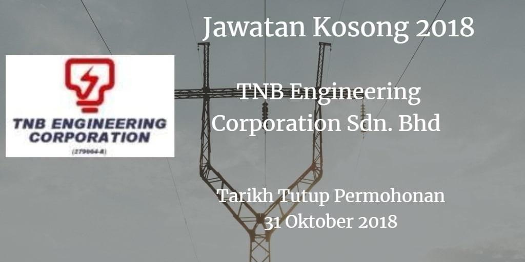 Jawatan Kosong  TNB Engineering Corporation Sdn. Bhd  31 Oktober 2018