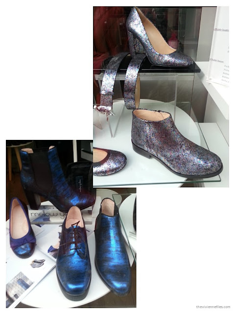 Metallic boots, flats and pumps in the shop windows of Paris