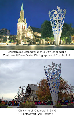 Christchurch, New Zealand's cathedral, before and after the 2011 earthquake