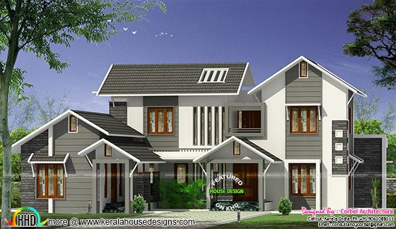 3131 square feet, 4 bedroom sloping roof style