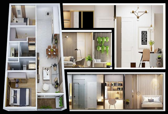 Phối cảnh thiết kế căn 2 phòng ngủ dự án căn hộ Napoleon Castle Nha Trang