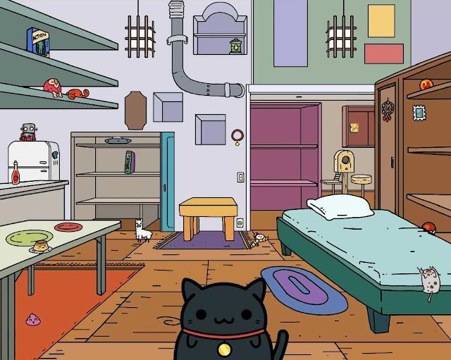 Tela mostrando todo o quarto do jogo Klepto Cats