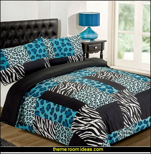 Zebra Leopard Black White Animal Print Duvet Quilt Cover Bedding