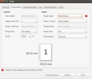 Pengaturan printer saat akan mencetak dengan GIMP