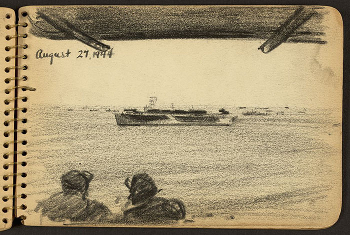 21-Year-Old WWII Soldier's Sketchbooks Show War Through The Eyes Of An Architect - Soldiers Looking At Ship In The Distance