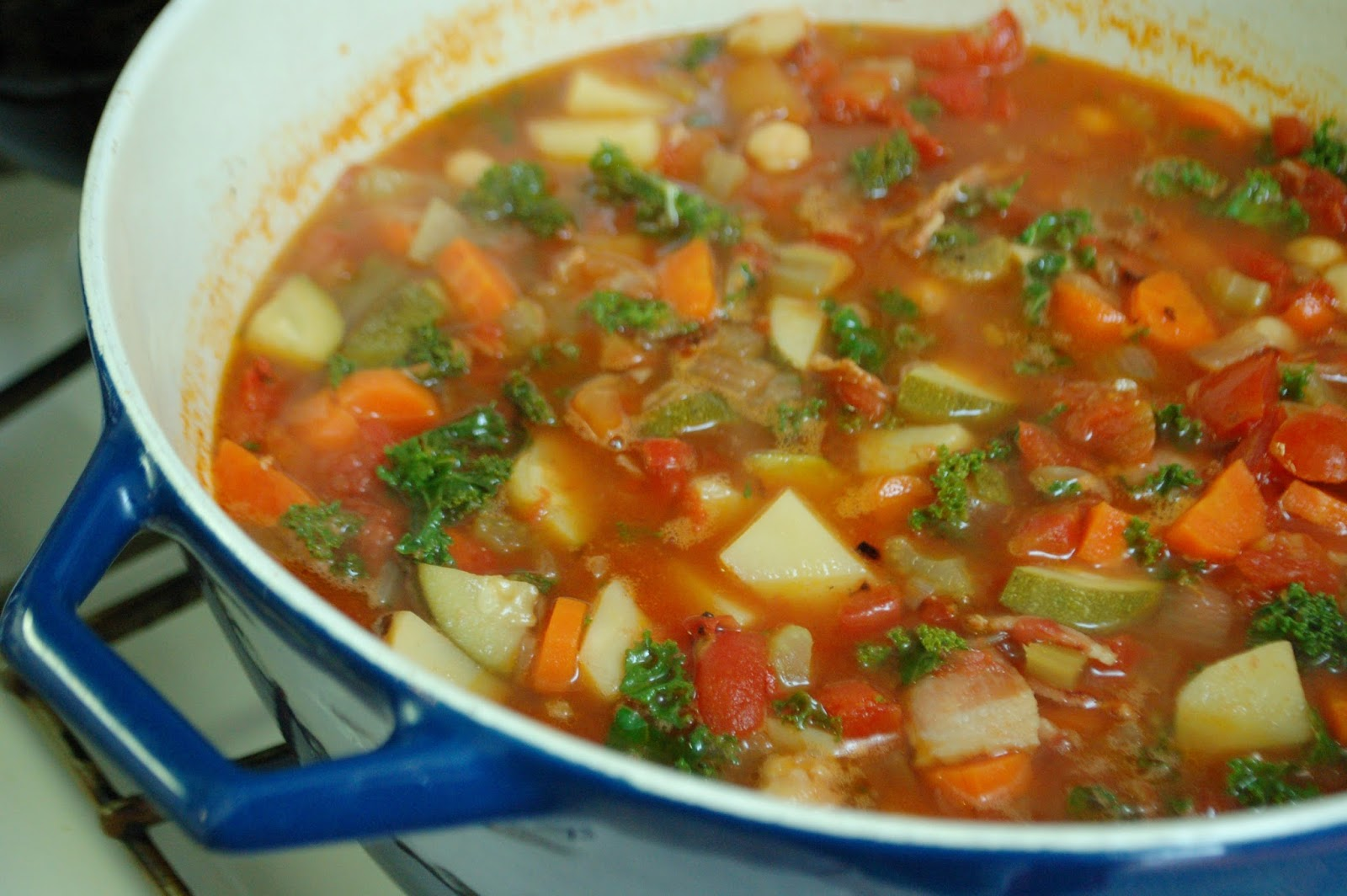 Smoky Minestrone with Tortellini and Basil Pesto