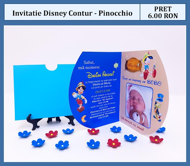 invitatii botez contur Pinochio