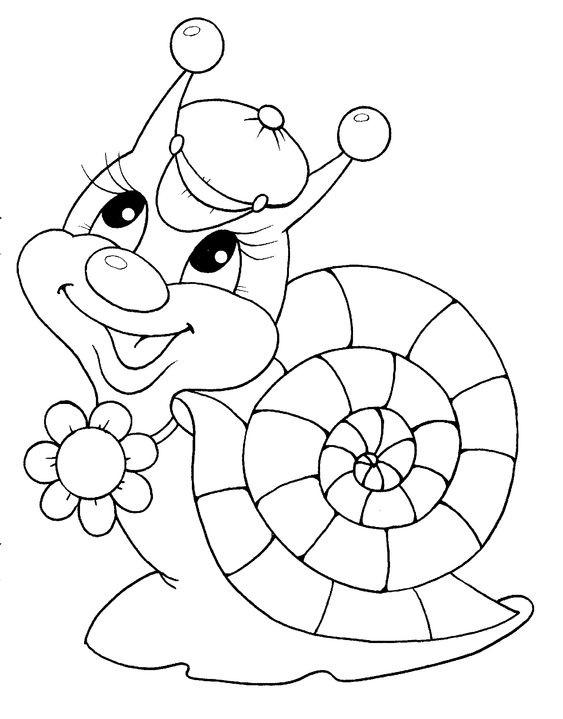Tranh tô màu con ốc sên cho bé 5 tuổi