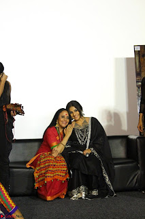 Vidya Balan with Ila Arun Gauhar Khan and other girls and star cast at Trailer launch of move Begum Jaan