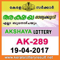 Kerala Lottery Results 19-04-2017 AKSHAYA Lottery Result AK-289
