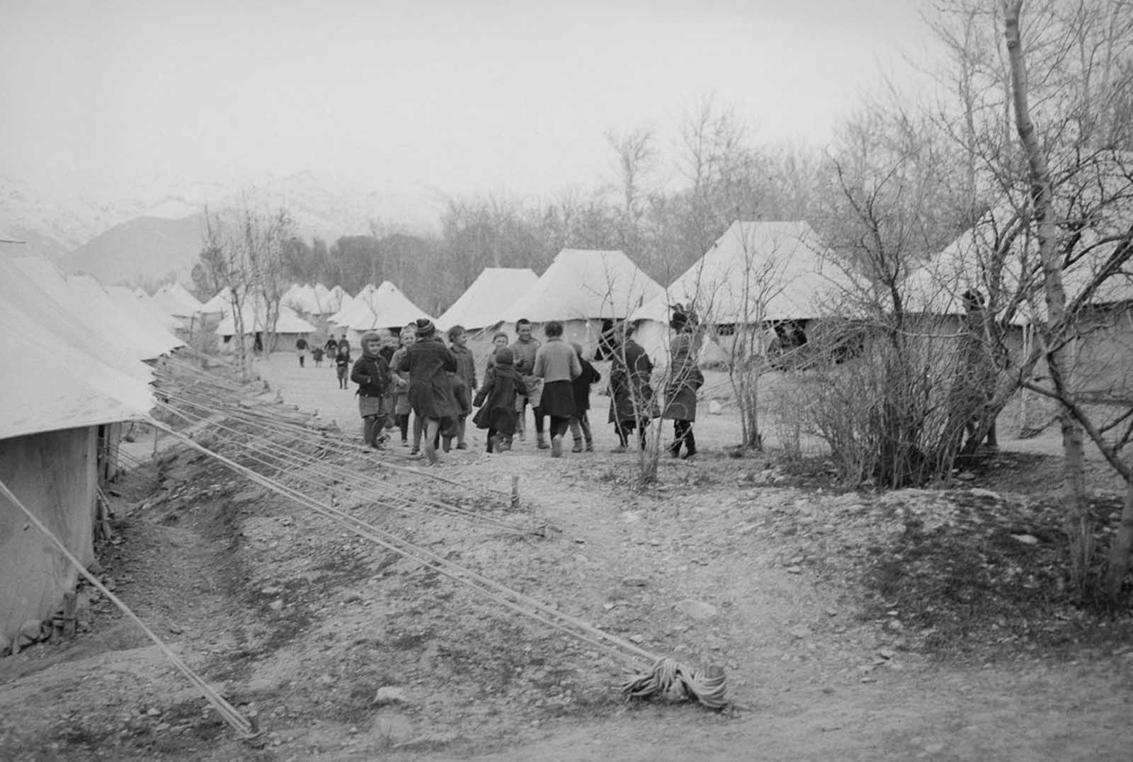 A tent city houses Polish evacuees on the outskirts of Tehran.