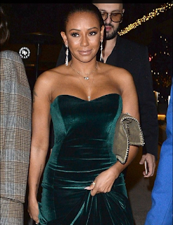 Mel B sets beats dashing as she slips her amazing curves into an exquisite green velvet outfit