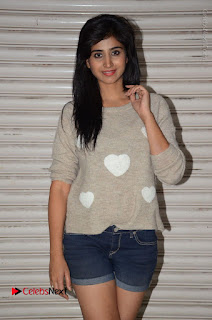 Actress Model Shamili (Varshini Sounderajan) Stills in Denim Shorts at Swachh Hyderabad Cricket Press Meet  0012.JPG