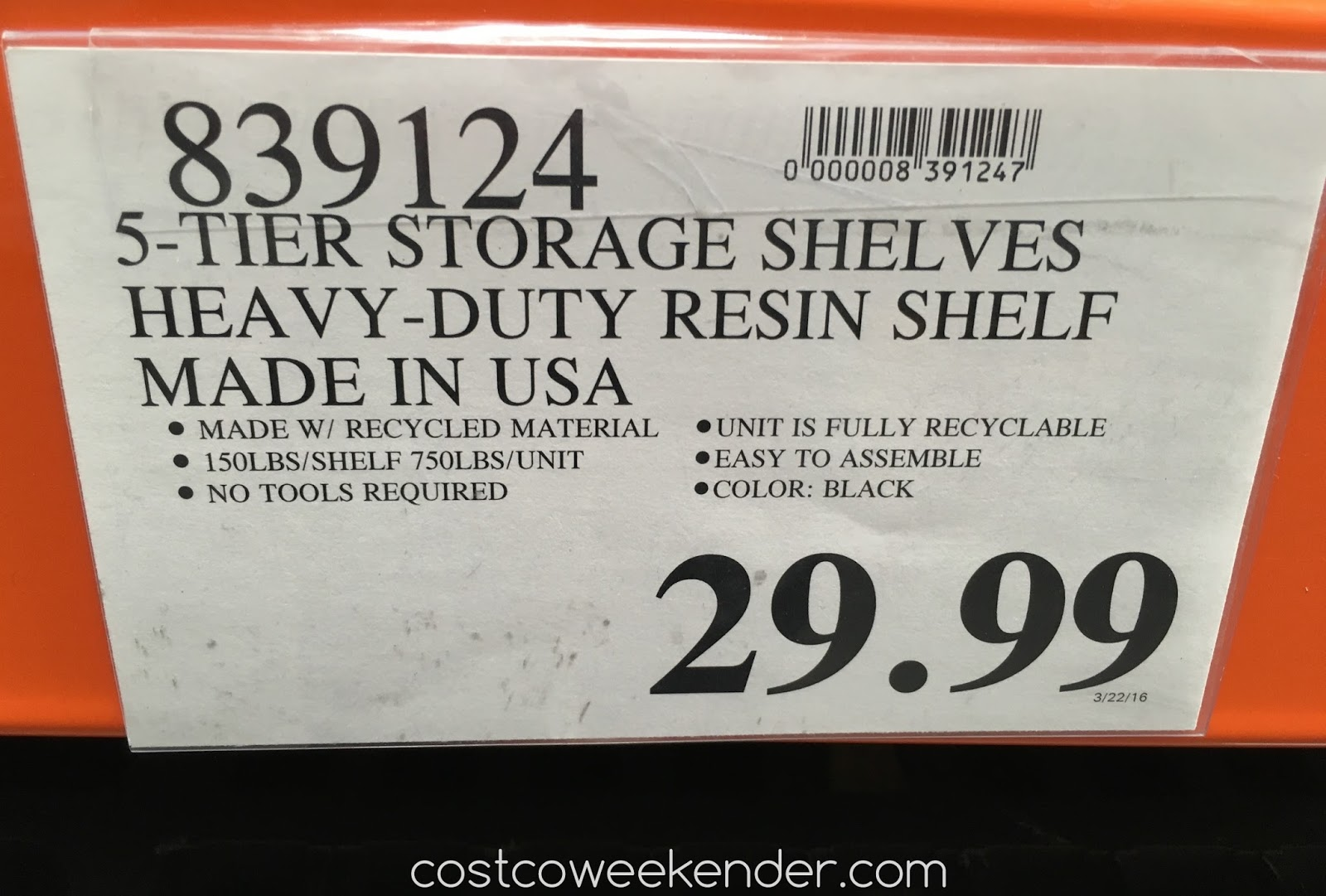 Keter 36 Quot X 18 Quot Storage Unit With 5 Shelves Costco Weekender