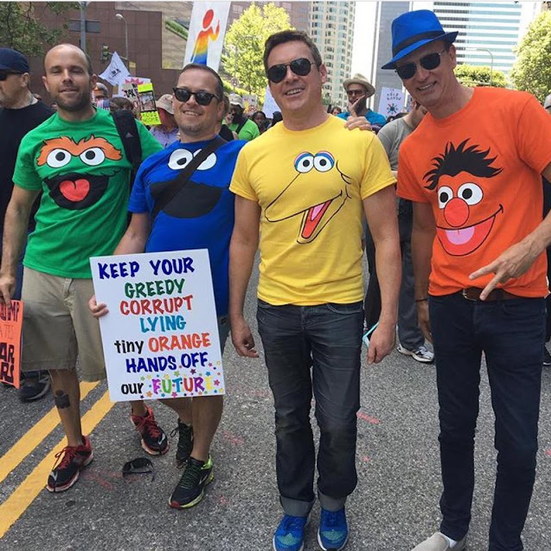 Sesame Street protesters LA Tax March
