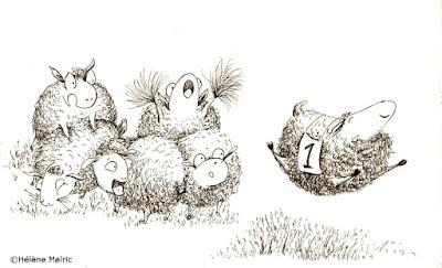illustration encre croquis mouton content happy sheep