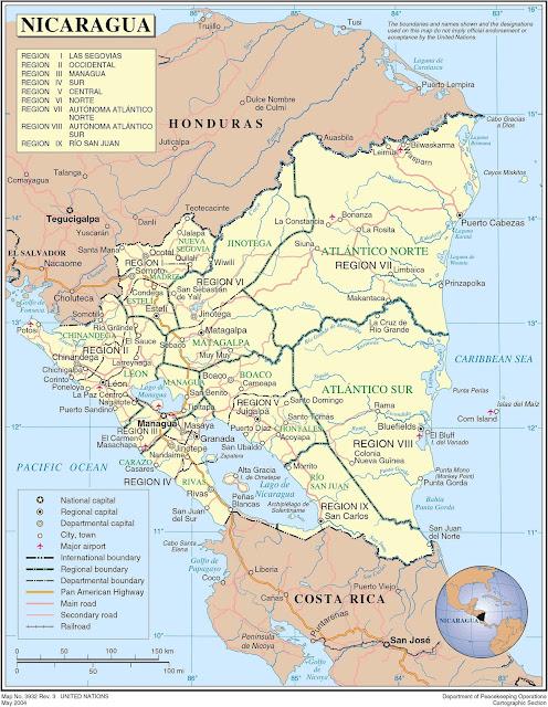 Mapa das regiões da Nicarágua