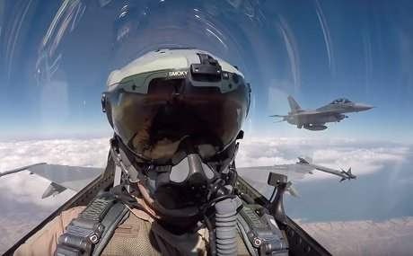 Image Attribute: Iraqi pilots demonstrate the Iraqi Air Force's newly delivered F-16 fighter jets, April 6, 2019. / Source: Screengrab from the video released by Iraqi Security Media Center.