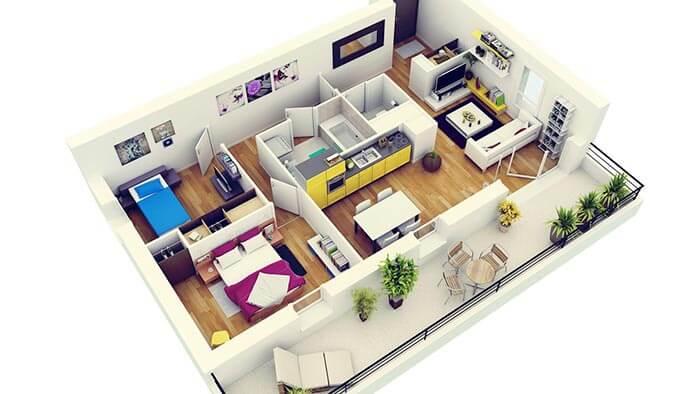 2+1 balkonlu daire planı