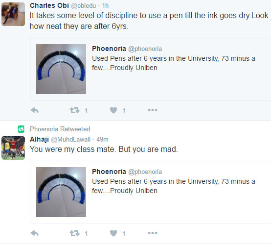 UNIBEN graduate shows off his neatly-archived used pens