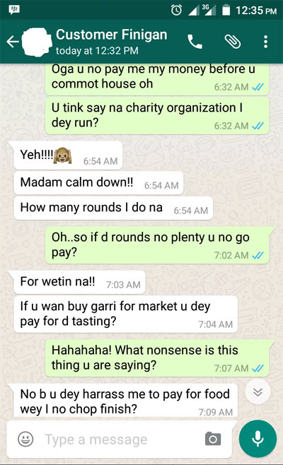 Who is at fault? See convo between runs girl and her client