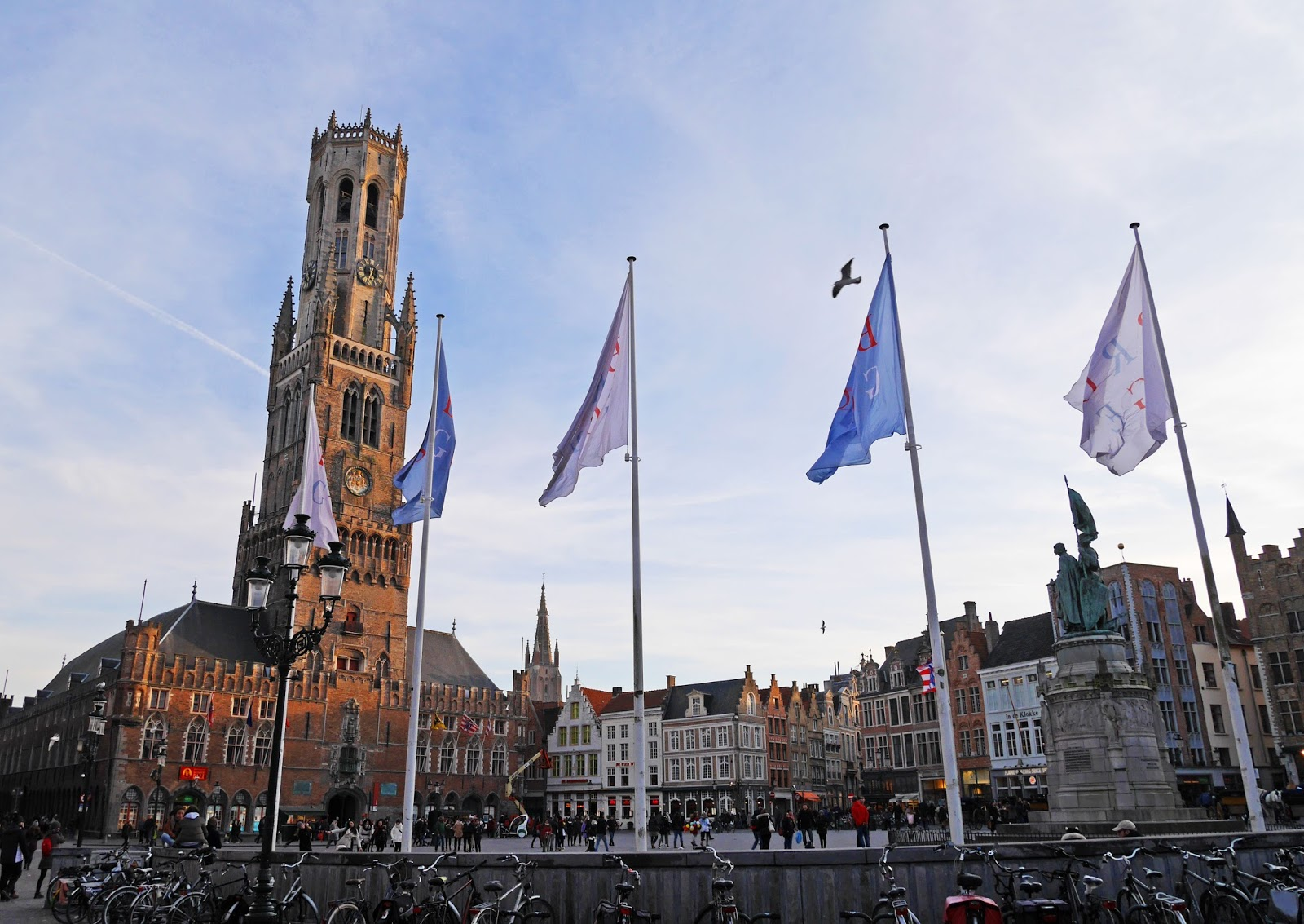 Bruges Market Square at sunset, Belgium