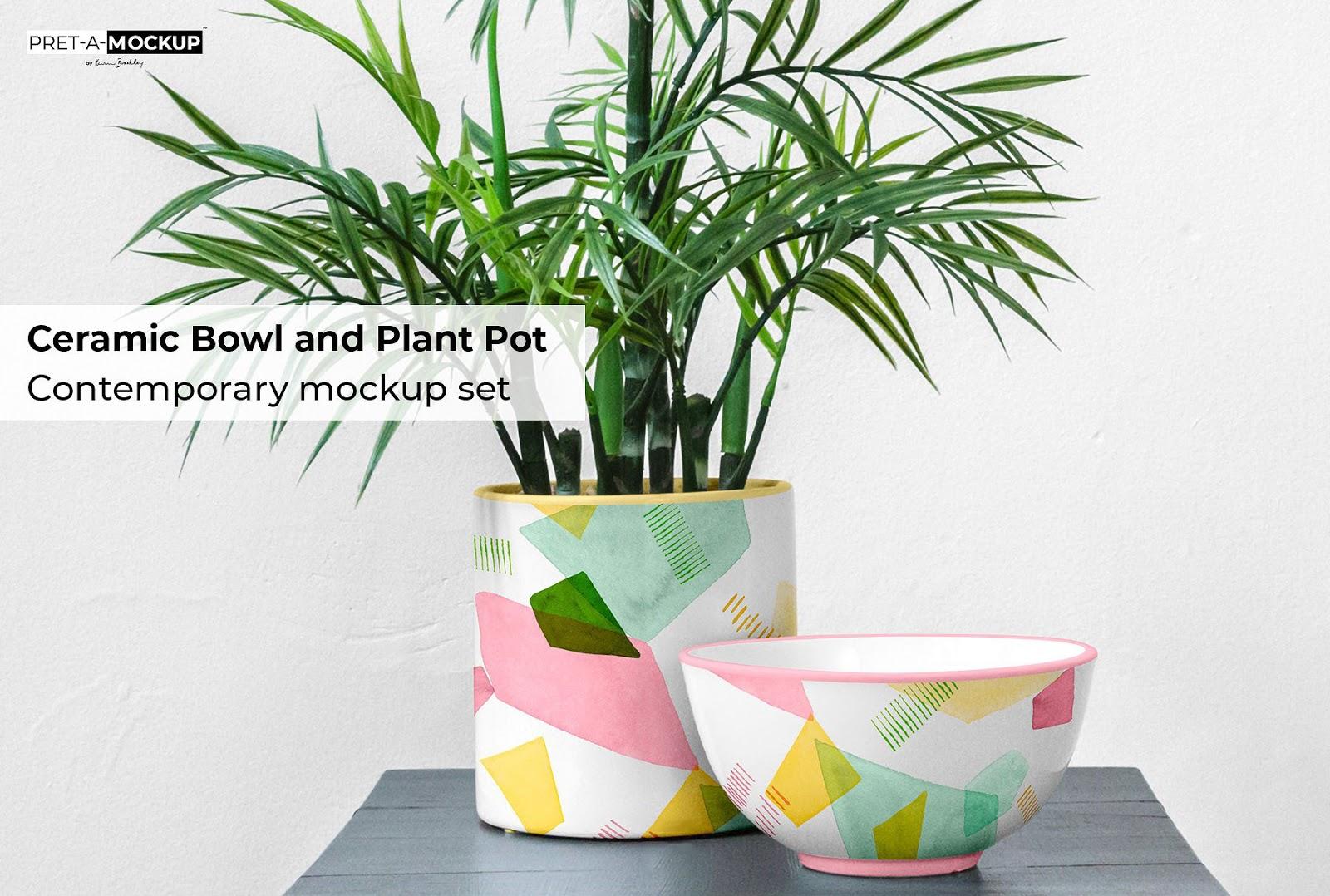Ceramic Bowl and Plant Mockup