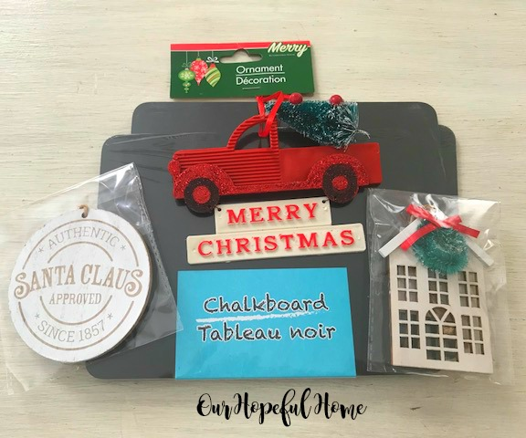 chalkboard house ornament Santa Claus approved gift tag red truck ornament with Christmas tree