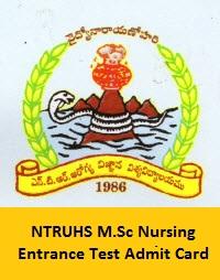 NTRUHS M.Sc Nursing Entrance Test Admit Card