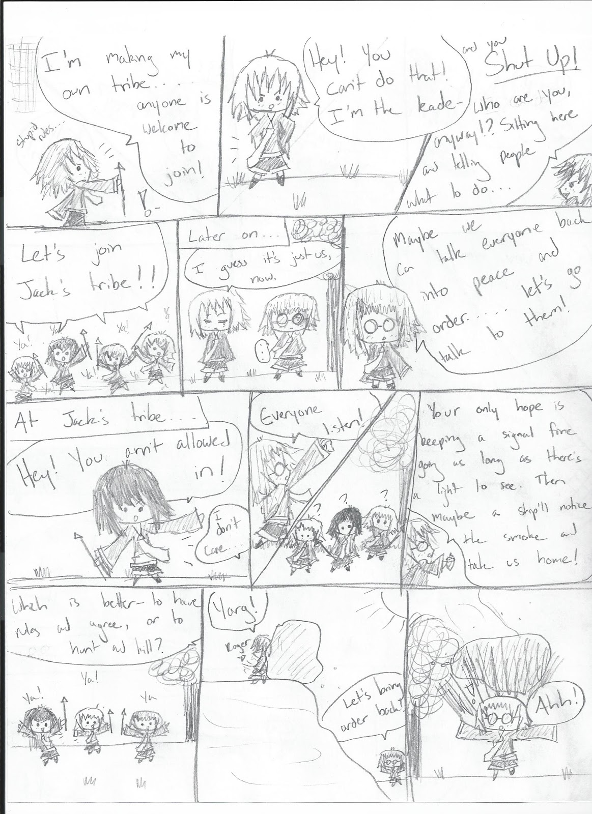 Poppy and Vicki:D: A 'Lord of the Flies' comic I made for