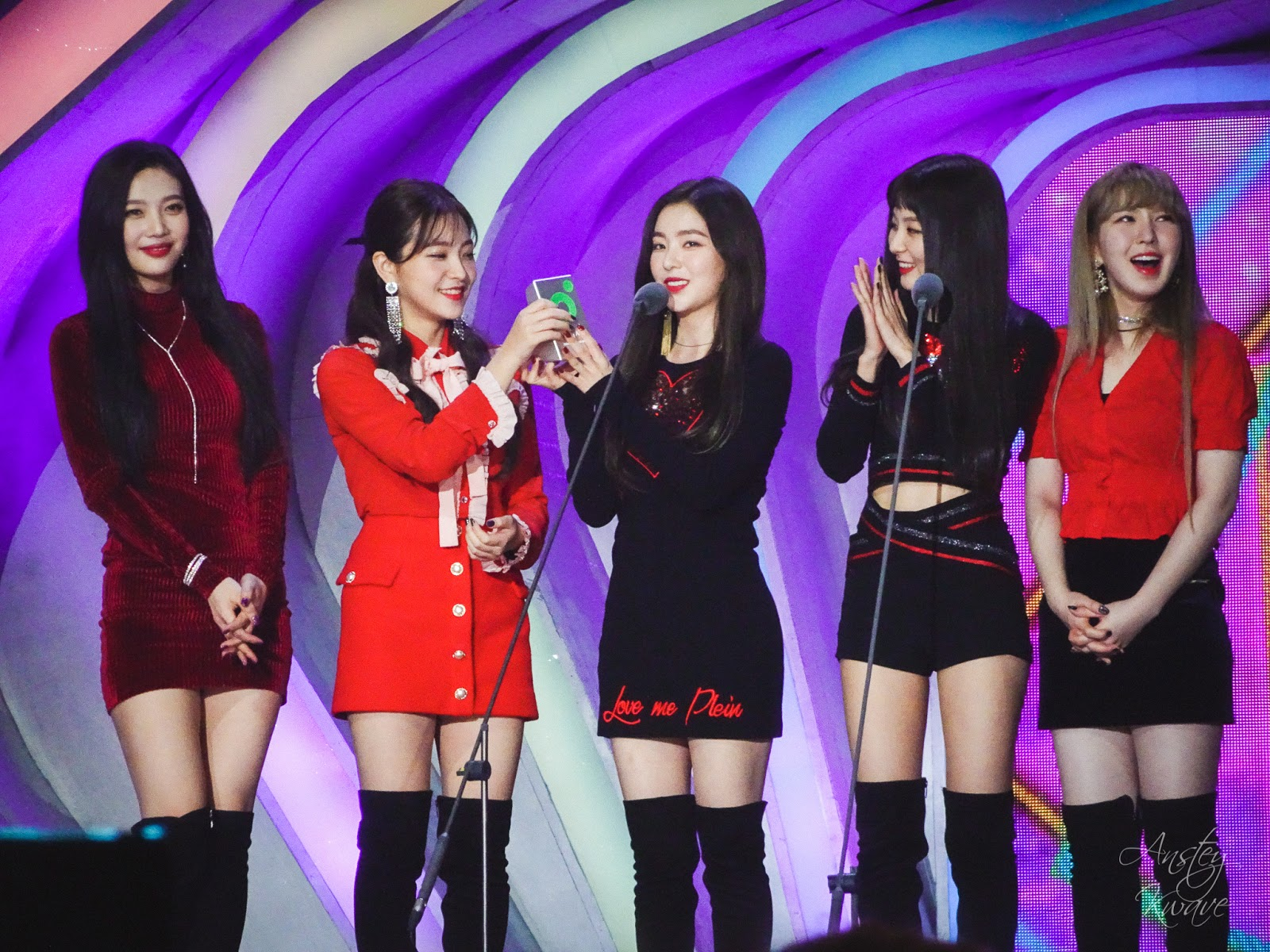Red Velvet famous Korean k-pop girl group receiving award on stage at Melon Music Awards (MMA) 2017 in Seoul, South Korea