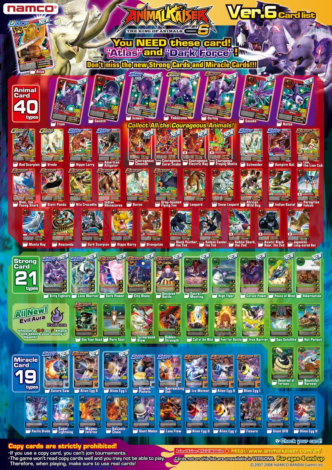 Animal Kaiser: V6 Card List