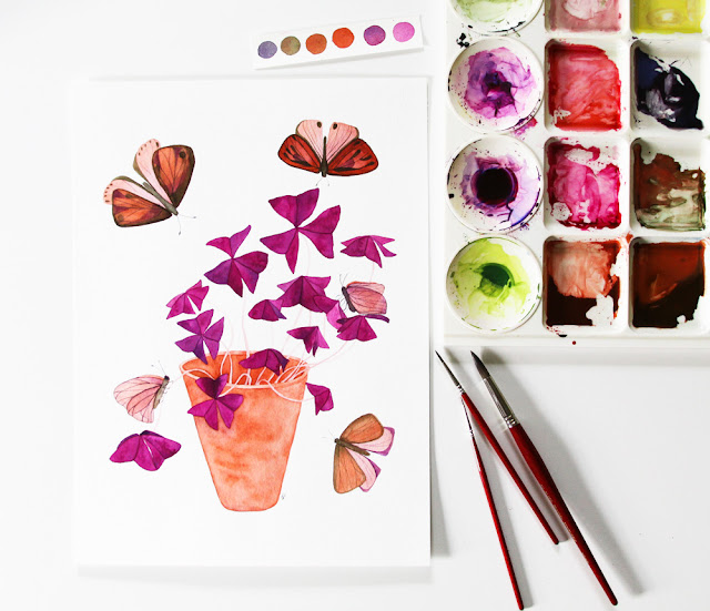 purple oxalis painting, watercolor oxalis, watercolor houseplant, houseplant portrait, butterflies, Anne Butera, My Giant Strawberry
