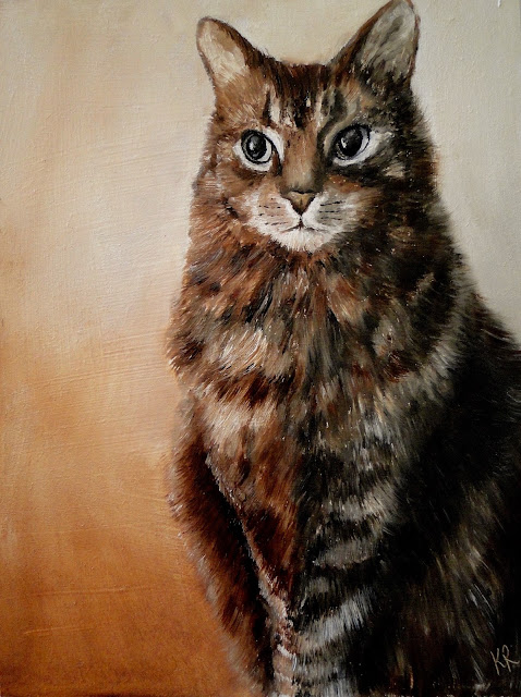 monochrome oil painting of a tabby cat, cat painting, pet portrait by Karen