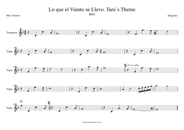 Partitura para Trompeta de Lara´s Theme (Flute score) Sirve para Fliscorno