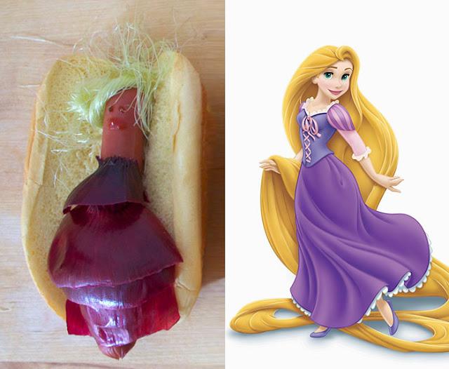 булочка с сосиской, бутерброд с сосиской, бутерброды, куклы, оформление детских блюд, принцесса, сосиски, фигурки, хот-догги, человечкидетские бутерброды фото
