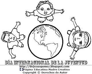 Imagen del Día Internacional de la Juventud para colorear