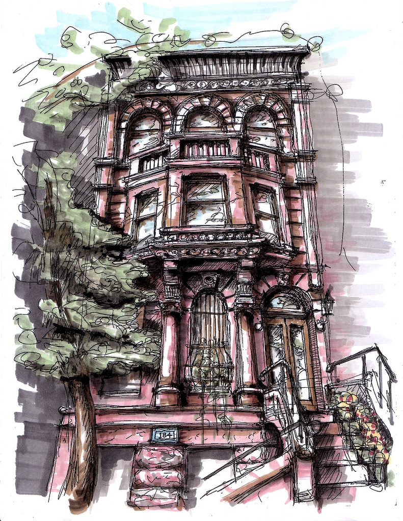 06-8th-Avenue-Brownstone-James-Anzalone-Freehand-Sketches-of-Park-Slope-Brooklyn-USA-www-designstack-co